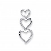 9ct white Gold 0.15ct Diamond set triple heart pendant